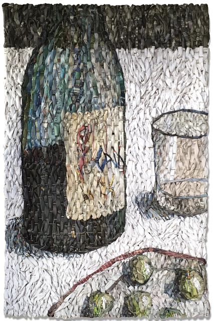 , 'Tabletop with Wine Bottle, Empty Glass, and Plate,' 2017, Andrea Schwartz Gallery