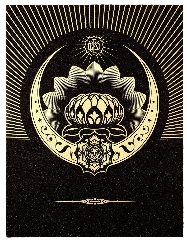 Shepard Fairey, 'Obey Lotus Crescent (Black & Gold),' 2012, Paul Stolper Gallery