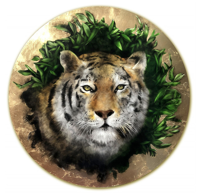 Steven Spazuk, 'Biophilia Tiger', 2018, Mixed Media, Acrylic paint, gold leaf and soot from fire on gessoed panel, Adelson Galleries