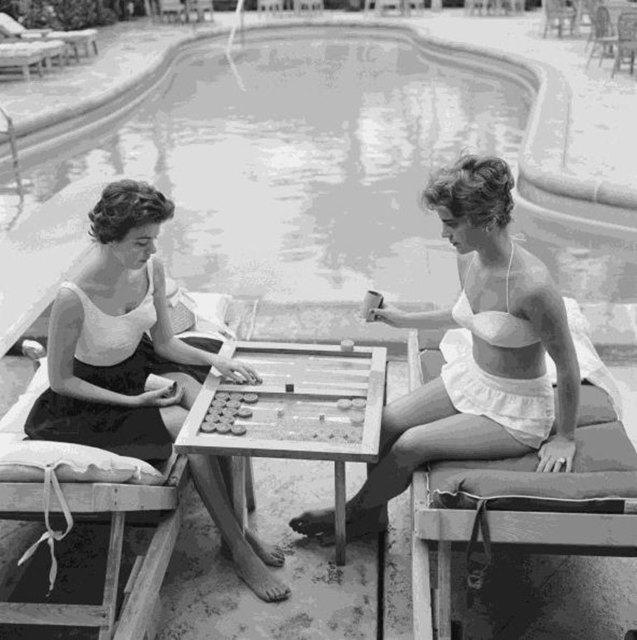 Slim Aarons, 'Backgammon By The Pool', 1959, IFAC Arts