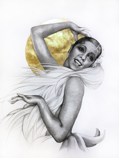 Lauren Clayton, 'Josephine', 2019, Drawing, Collage or other Work on Paper, Graphite, charcoal, and gold leaf on paper, SHIM Art Network