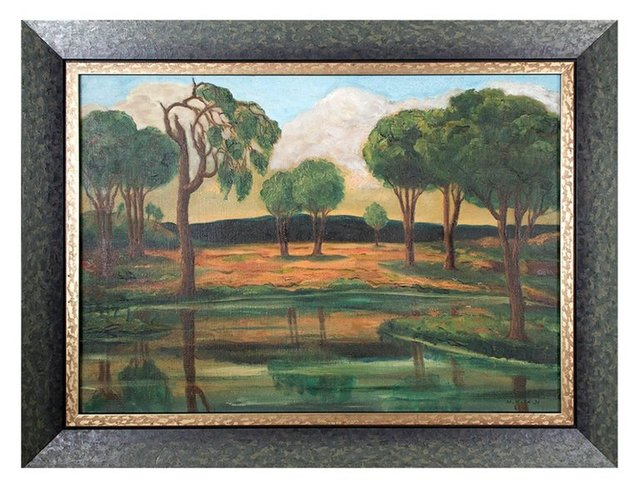 Maurice Kish, 'Early Modernist River Landscape with Trees and Mountains WPA artist', 1930-1939, Lions Gallery