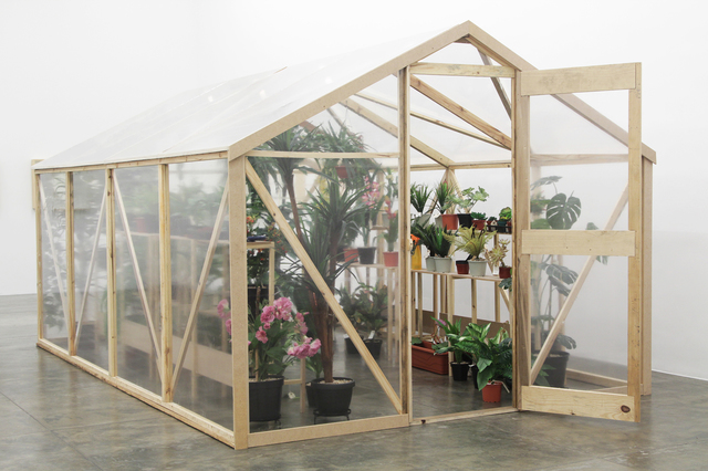 Alberto Baraya, 'Green house', 2013, Photography, Labeled artificial plants, plastic, wood, gardening tools, electricity, Galeria Nara Roesler