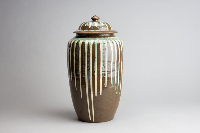 , 'Elongated Jar with Green and White Drip Glaze,' n/a, Pucker Gallery