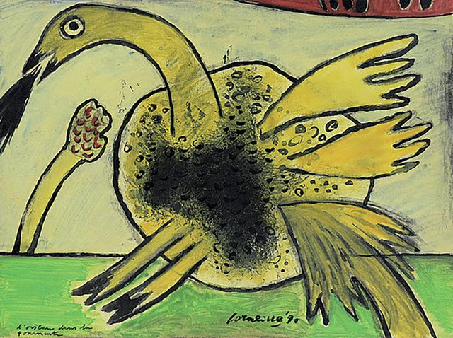 Guillaume Corneille, 'L'oiseau dans la tormente', 1991, Painting, Gouache, Kunzt Gallery