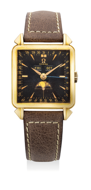 OMEGA, 'A rare and fine yellow gold square wristwatch with triple calendar, moonphases and black dial', Circa 1950s, Fashion Design and Wearable Art, 18K yellow gold, Phillips