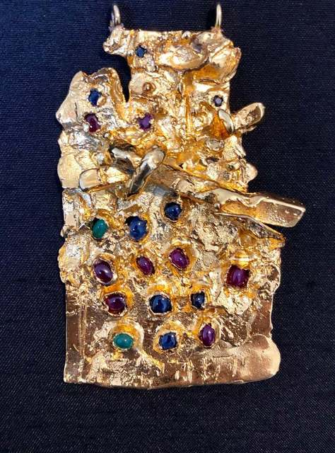 Igael Tumarkin, 'Gold Gilt Bronze Sculpture Pendant Israeli Tumarkin Abstract Modernist Jewelry', 1960-1969, Lions Gallery