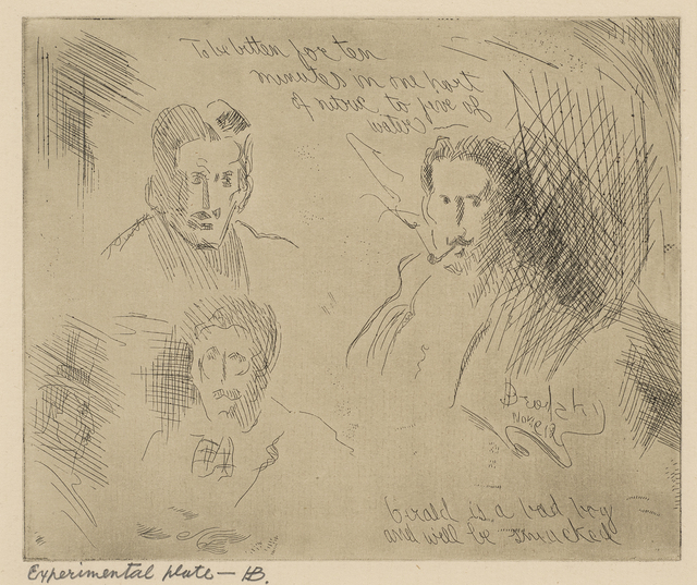 Horace Ascher Brodzky, 'Experimental plate - B: Three Portraits', ca. 1912, Ben Uri Gallery and Museum