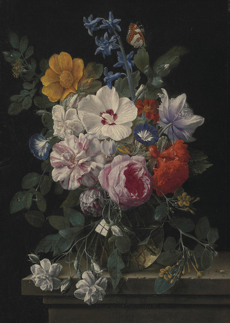 , 'Flowers in a glass vase with a butterfly and beetle on a stone ledge,' , Christie's Old Masters