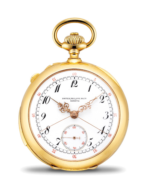 Patek Philippe, 'A very fine and rare yellow gold minute repeating openface split-seconds chronograph watch with Breguet numerals and retailed by J. H. Leyson, Butte Montana', 1900, Phillips