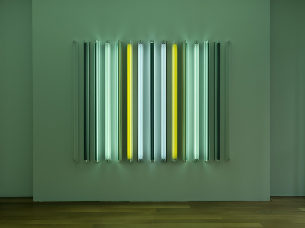 "Robert Irwin, ""Yellow Jacket"", Galerie Xippas, Geneva, Switzerland, 2015. © Philipp Scholtz Rittermann"