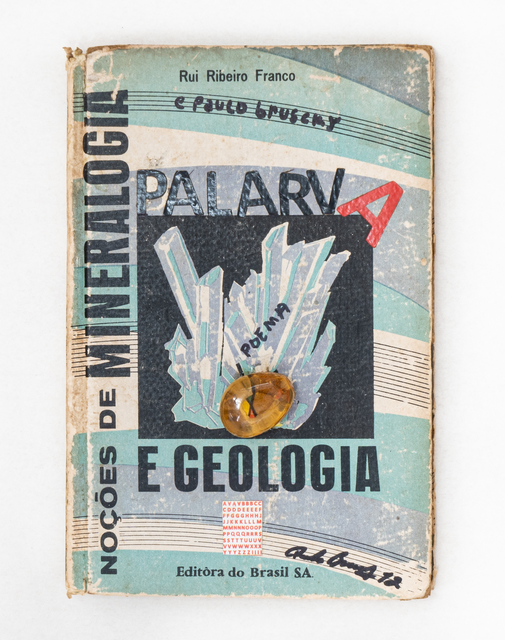 Paulo Bruscky, 'Palarva: Notions of mineralogy and geology', 2012, Drawing, Collage or other Work on Paper, Mixed on bookcover and stone, Nara Roesler