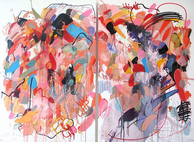 Yassine Mekhnache, 'ANIMAL DREAM', 2010, Painting, Mixed Media and Embroideries on Canvas, David Bloch Gallery