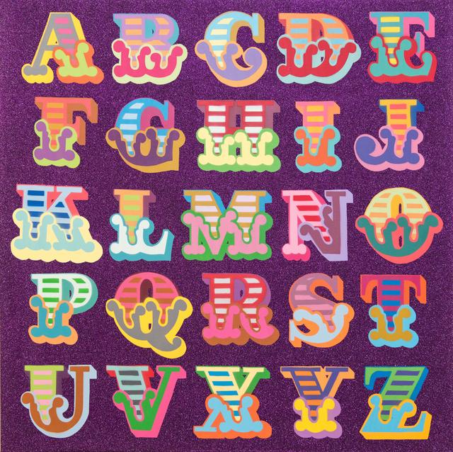 Ben Eine, 'Glitter A-Z (Purple)', 2018, Treason Gallery