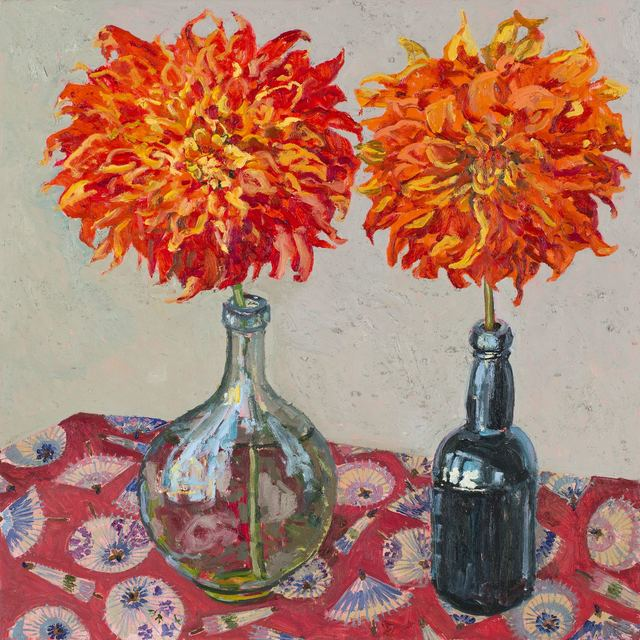 , 'Two dahlias,' 2018, Jan Murphy Gallery