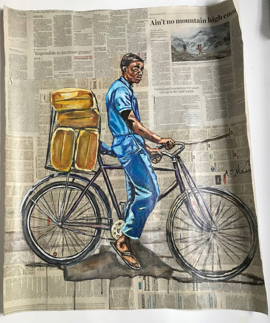 Andrew Ntshabele, 'Greater prospects II', 2018, Mixed Media, Acrylic on newspaper (pasted on canvas), ARTsouthAFRICA
