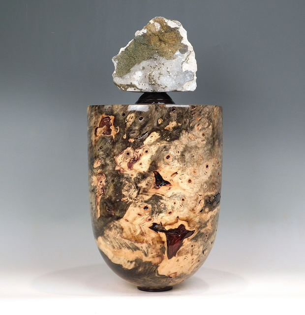 Steven Potts, 'Buckeye Burl Vessel', 2021, Sculpture, Buckeye (Aesculus Glabra) Wood with African Ebony and Sparking Chalcopyrite mineral with Calcite from the Tinghir Province, Morocco, Steidel Contemporary
