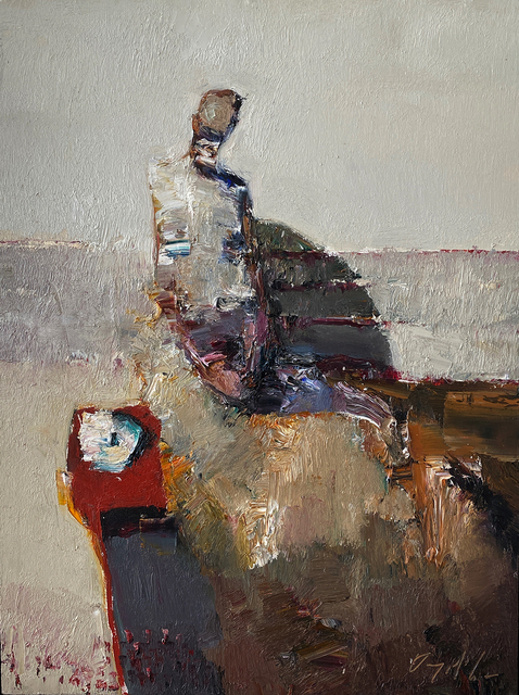 Danny McCaw, 'Sitting by Red Table', 2020, Painting, Oil on board (framed), Sue Greenwood Fine Art