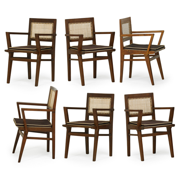 Pierre Jeanneret, 'Six Armchairs From The State Bank Of India, France/India', 1950s, Rago/Wright