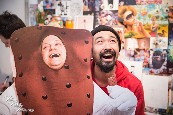 Artist Haroshi with Jonathan LeVine cutout (Credit: Joe Russo)