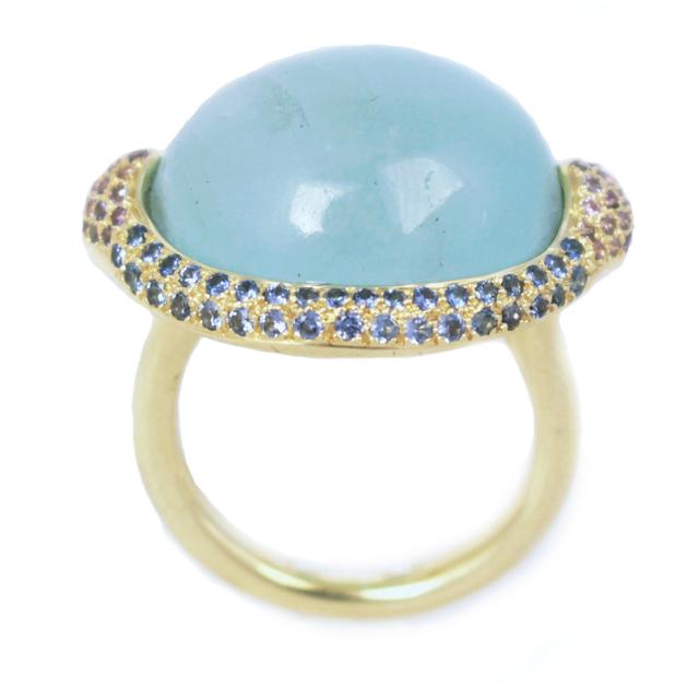 , 'Aquamarine Sapphire Diamond Gold Ring,' 2016, form & concept