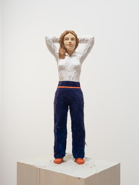 Stephan Balkenhol, 'Woman with White Shirt and Blue Pants', 2019, Galerie Forsblom