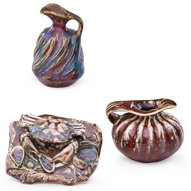 Pierre Adrien Dalpayrat, 'Crab Paperweight And Two Small Organic Pitchers, France', ca. 1900, Rago/Wright