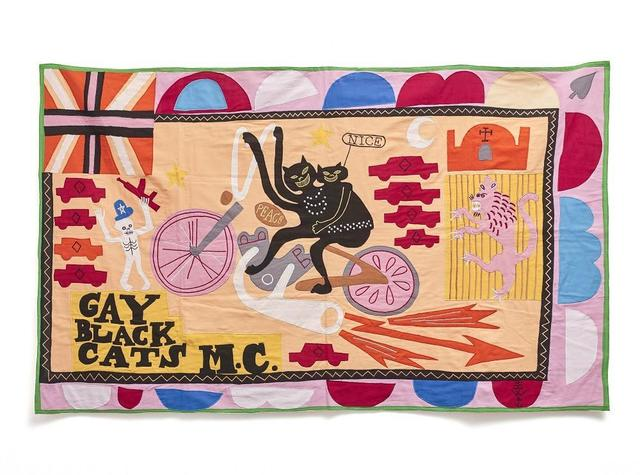 Grayson Perry, 'Gay Black Cats Motorcycle Club Tapestry Flag', 2017, Hidden