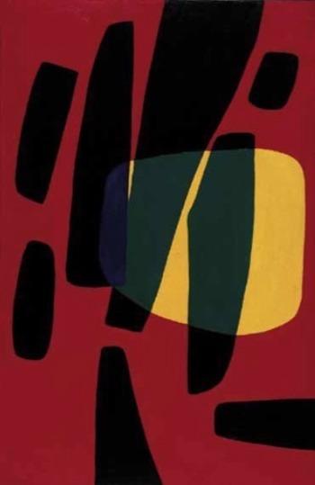 , 'Monadi n. 2 bande nere fondo rosso sole giallo,' 1948, Montrasio Arte / Km0