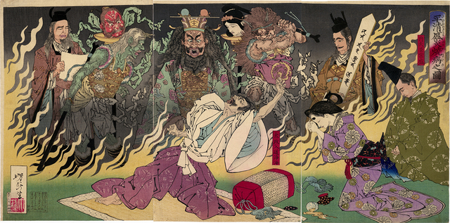 , 'Taira no Kiyomori burns with Fever,' 1883, Egenolf Gallery Japanese Prints & Drawing