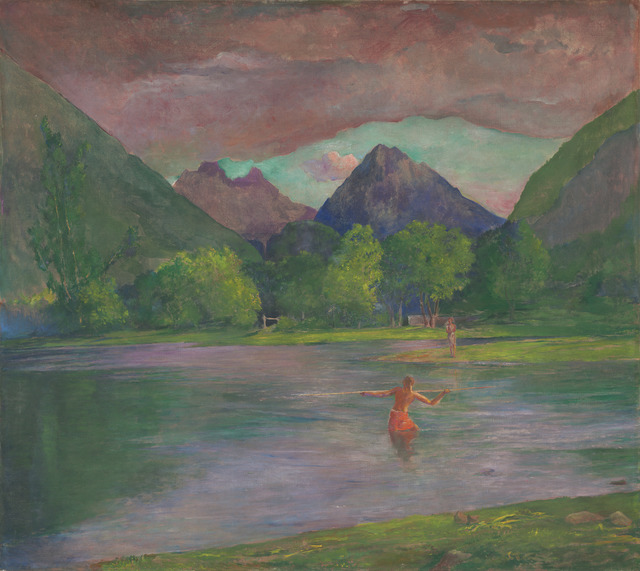 John La Farge, 'The Entrance to the Tautira River, Tahiti. Fisherman Spearing a Fish', ca. 1895, Painting, Oil on canvas, National Gallery of Art, Washington, D.C.