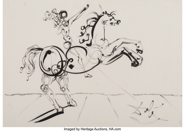 Salvador Dalí, 'Cavalier, connu aussi comme Trajan', circa 1967, Other, Felt pen and ink on cardboard, Heritage Auctions