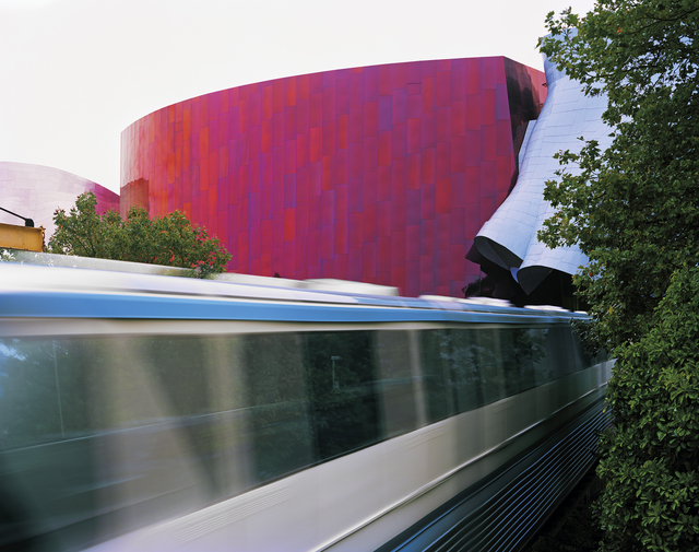 , 'Seattle 1962 World's Fair, The Century 21 Exposition, Monorail with Gehry-designed EMP Museum,' 2014, Front Room Gallery