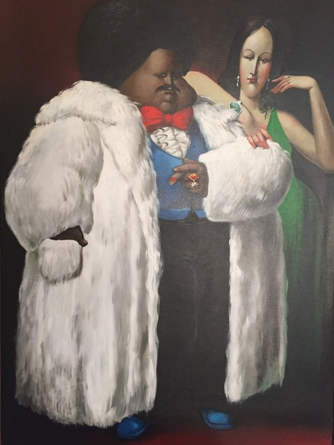 Leandro Velasco, 'Man in White Fur Coat with Lady in Green', 1977, Sylvan Cole Gallery
