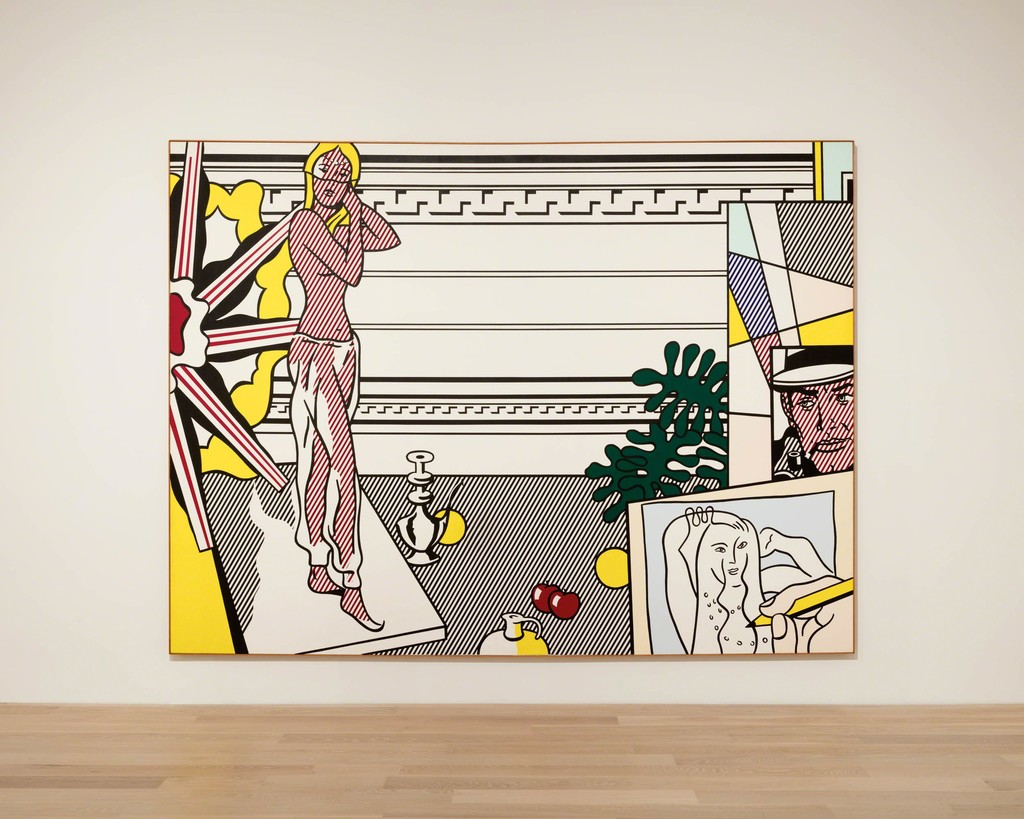 "Roy Lichtenstein, Artist's Studio with Model, 1974. Oil and Magna on canvas. Collection of Irma and Norman Braman. Installation view: ""The Everywhere Studio,"" Institute of Contemporary Art, Miami, Dec 1, 2017–Feb 26, 2018. Photo: Fredrik Nilsen Studio."