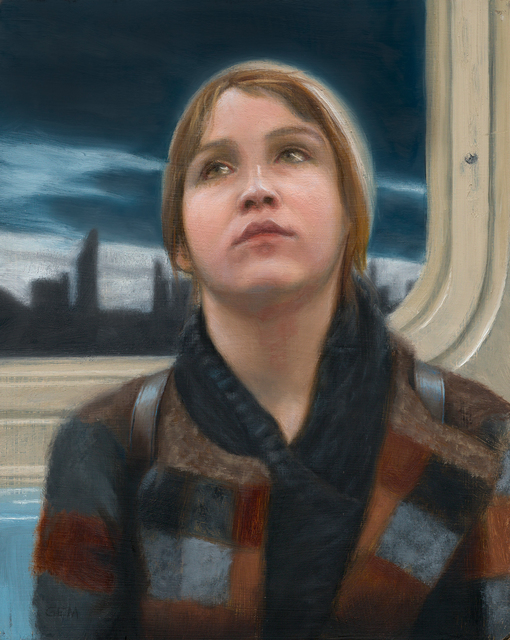 Gayle Madeira, 'Sunset on the N Train', 2019, Painting, Oil on wood panel, 33 Contemporary