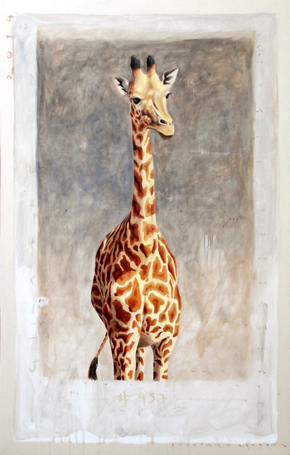""", '""""#457"""" Portrait of Giraffe with Neutral Gray Background and Exposed Canvas ,' 2010-2017, Eisenhauer Gallery"""