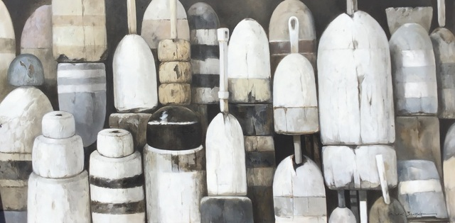 "Michel Brosseau, '""Shades of Gray"" oil painting of black, white and gray buoys', 2019, Eisenhauer Gallery"