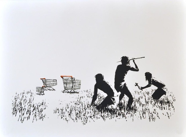 Banksy, 'Trolleys (Black & White)', 2007, Taglialatella Galleries