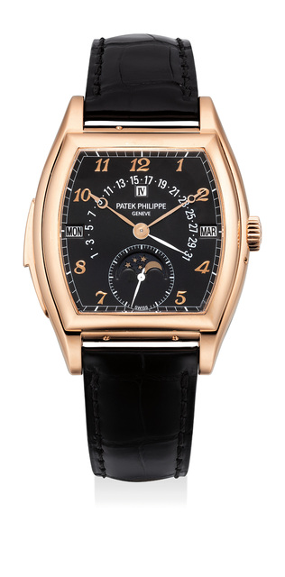 Patek Philippe, 'An extremely attractive and rare pink gold tonneau-shaped minute repeating perpetual calendar wristwatch with black dial and Breguet numerals, retrograde date, moon phase, original certificate, presentation box and Tiffany & Co. outer packaging', 2007, Phillips