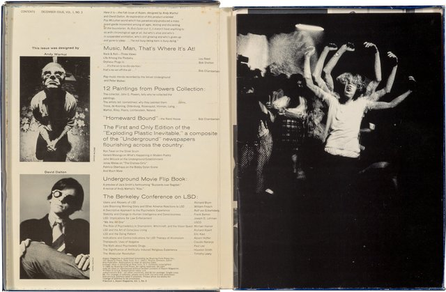 """Andy Warhol, 'Aspen magazine, Vol. 1 No. 3', December 1966, Mixed Media, This issue was designed by Andy Warhol and David Dalton, comprising 11 sections of various ephemera including a flip=book based on Warhol's film """"Kiss,"""" and Jack Smith's film """"Buzzards Over Bagdad,"""" a flexidisc by John Cale of the Velvet Underground, and a ticket book with excerpts of papers delivered at the Berkeley conference on LSD by Timothy Leary, housed in a box with graphics based on Fab detergent., Heritage Auctions"""