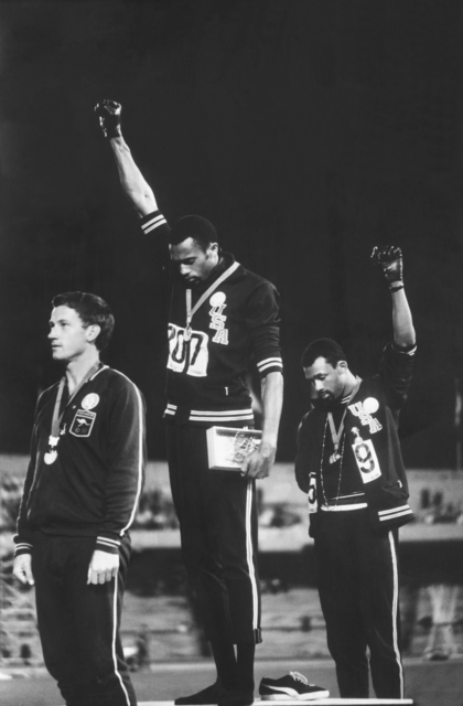 , 'American Track and Field athletes Tommie Smith and John Carlos, First and Third Place Winners in the 200 Meter Race, Protest with the Black Power Salute,' 1968, Brooklyn Museum