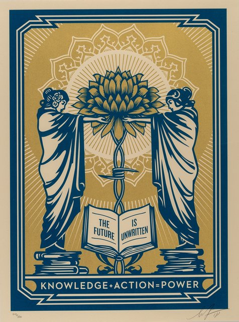 Shepard Fairey, 'Knowledge + Action (Blue/Gold)', 2018, Heritage Auctions