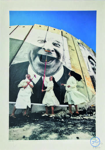 JR, '28 Millimètres, Face 2 Face, Nuns in action, separation wall, security fence, Palestinian side, Bethlehem', 2007, Digard Auction