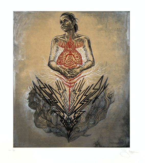 Swoon, 'Sonia', 2016, Print, Intaglio, surface roll, hand painted acrylic gouache, and collage, Toshkova Fine Art Advisory