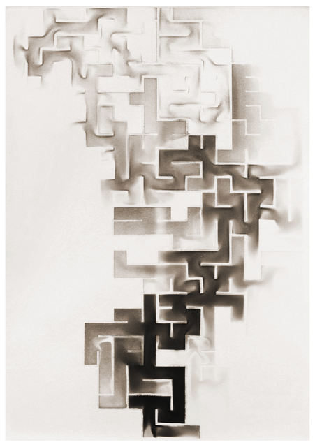 Troika, 'Labyrinth', 2014, Drawing, Collage or other Work on Paper, Soot on paper, Kohn Gallery