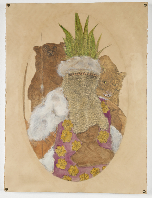 , 'The Tataviam king hides his face. The ingestion of datura by the Oro King predicted the coming of Tupac Shakur and the Lakers color palette.,' 2016, Johannes Vogt Gallery