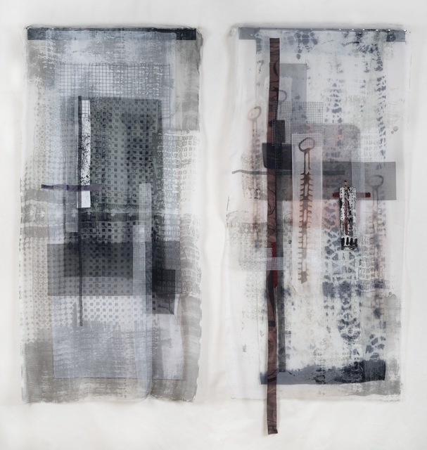 Dianne Koppisch Hricko, 'Dusk to Dawn', 2018, Mixed Media, Diptych made from silk, cotton, linen, wire mesh, plastic mesh, mx dyes, discharged, steel angle iron, magnets, InLiquid