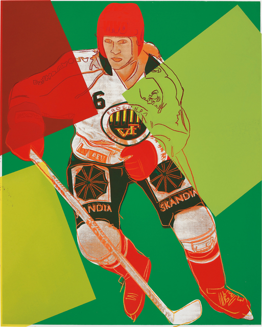 Andy Warhol, 'Frolunda Hockey Player', 1986, Print, Unique screenprint in colours, on Lenox Museum Board, the full sheet., Phillips