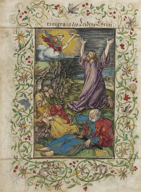 Albrecht Dürer, 'Christ on the Mount of Olives, from: The Engraved Passion (B., M., Holl. 4; S.M.S. 46)', 1508, Engraving with watercolour and bodycolour heightened with gold, Christie's Old Masters